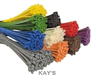 100Pk-CABLE-TIES-ZIP-TIE-RED-BLUE-YELLOW-GREEN-BLACK-WHITE-PURPLE-BROWN-ORANGE