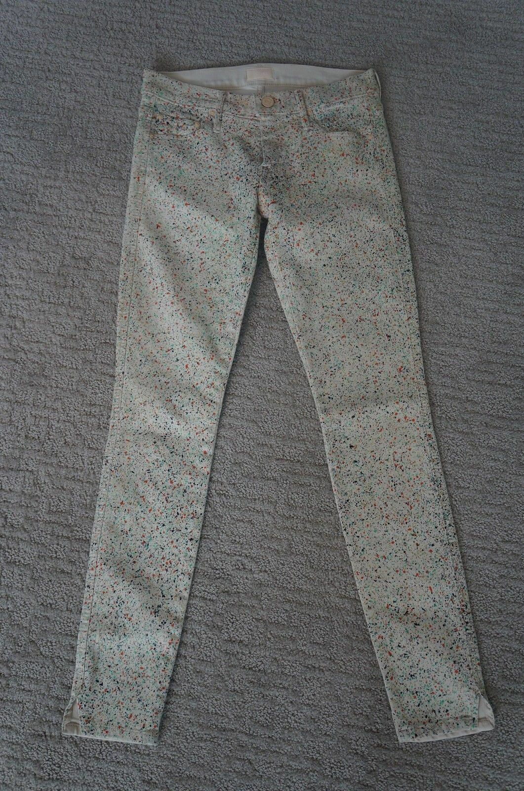 New Mother Denim Vamp Paint Splatr Skinny AnkleSlit Lightweight Strtch Jeans 24