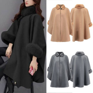 Womens-Winter-Wool-Cloak-Cape-Coat-Flare-Sleeve-Faux-Fur-Collar-Poncho-Overcoat