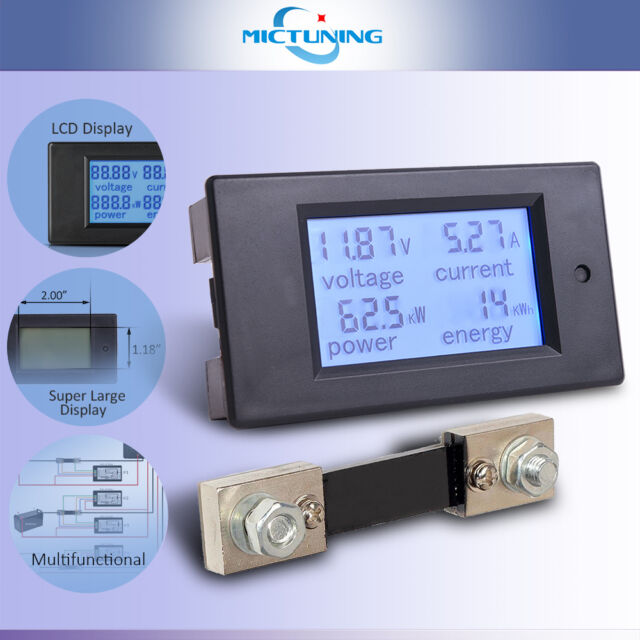 MICTUNING DC 6.5-100V LCD Digital Display Voltmeter Multimeter 100A//75mV Shunt