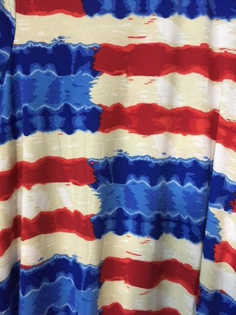 NWT LuLaRoe CARLY  SMALL    RED WHITE blueE CREAM TIE DYE STRIPES AMERICAN DREAM 799da5