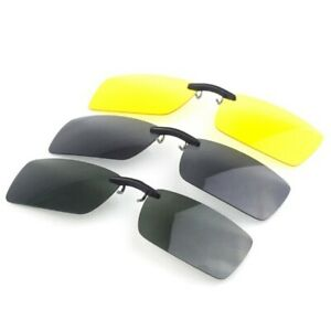 Polarise-Clip-On-Sun-Glassess-Night-Vision-Clip-Pilote-Lunettes-Lens
