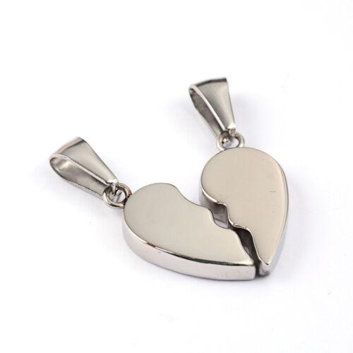 Remolque de pareja de acero inoxidable 2st corazón pedrería grabado pies mariposa #3511