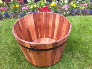 Garden Half Barrel Planter Tub 55cm Acacia Wood Metal Handles
