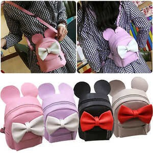 Minnie Mouse Bow Women Girl Backpack School Bag PU Leather Shoulder Travel Bags