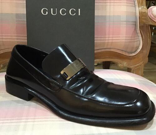 GUCCI Sz 10 Vintage Men Black Leather Loafers Silv