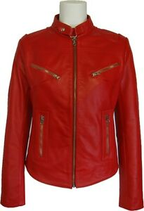 UNICORN Womens 100% Real Leather Red Short Fashion Jacket 'All sizes': #Z2