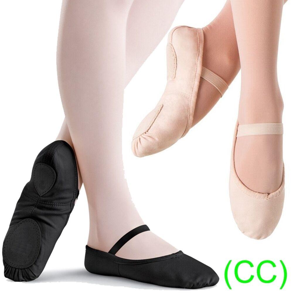 Pink & Black CANVAS Ballet Dance Shoes split suede sole elastics jig pumps (CC)