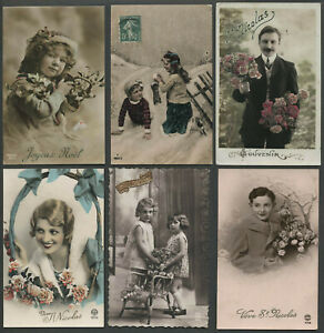 Six-c-1908-36-French-RPPC-Real-Photo-Postcards-ST-NICOLAS-JOYEUX-NOEL-CHRISTMAS
