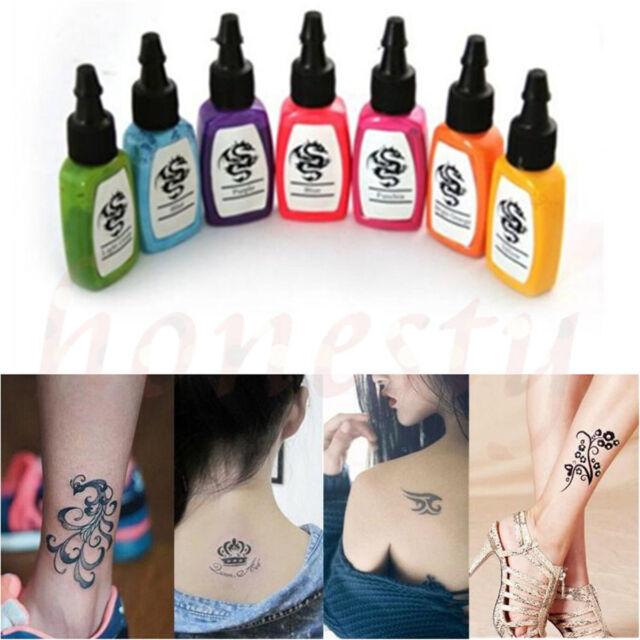 7 Color 15ml Premium Tattoo Ink Set Bottled Pigment Paint Supplies ...