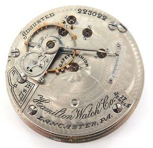 RARE-ONLY-50-182-MADE-1903-HAMILTON-927-18S-17J-MENS-POCKET-MOVEMENT-amp-DIAL
