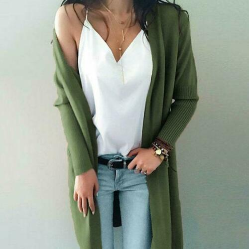 New Womens Long Knit Sweater Coat Cashmere Double Pocket Casual Cardigan Jackets