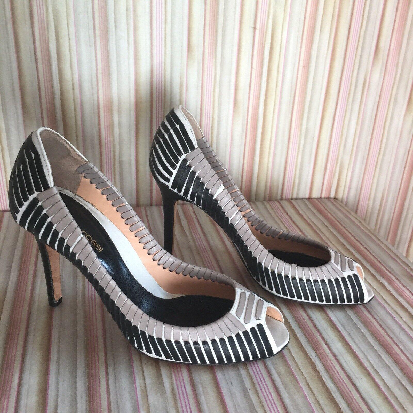 Sergio Rossi blancooo gris Negro de Cuero Tejido Tejido Tejido de punto de Puntera abierta Tacones Zapatos De Salón 7.5-37.5  distribución global