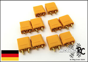 5-Paar-10-Stueck-XT90-Plugs-Stecker-Buchsen-Nylon-Hochstrom-Goldstecker-Neu