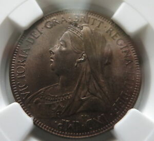 GREAT-BRITAIN-England-1-2-penny-1901-NGC-MS-63-UNC-Victoria