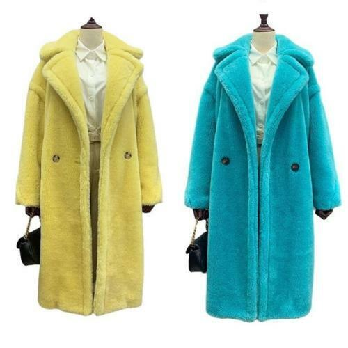Women's Coat Cashmere Lambwool Oversize Double Breasted Lapel Teddy Parka Club L