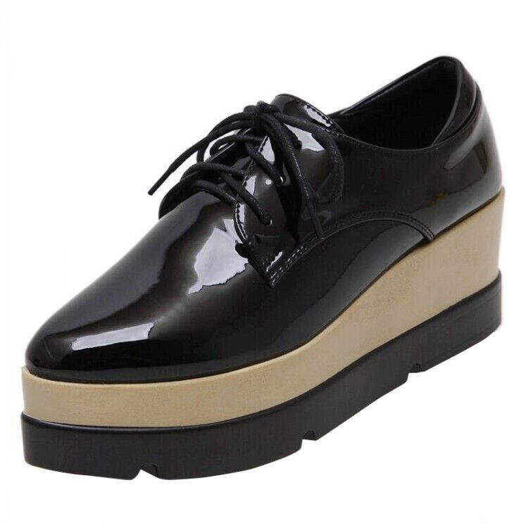 27772b5438a Womens Creppers Brogue Patent Patent Patent Leather Lace Up Platform ...