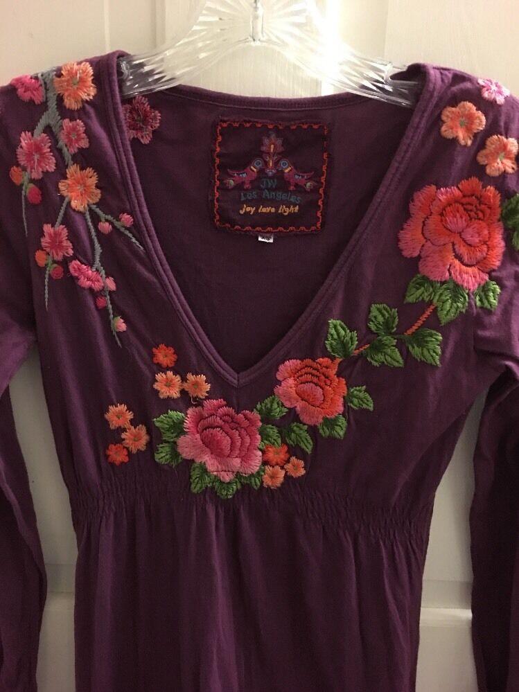 116. JWLA Johnny Was  Dress Embroiderot 100% lila Cotton Größe  XS 168.00