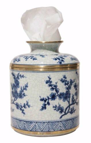 Porcelain Tissue Holder Blue /& White Blossom Kleenex Jar Box Keeper