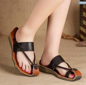 709d404e7 Image is loading Womens-Chinese-Leisure-Thong-Sandal-Shoes-Leather-Roman-
