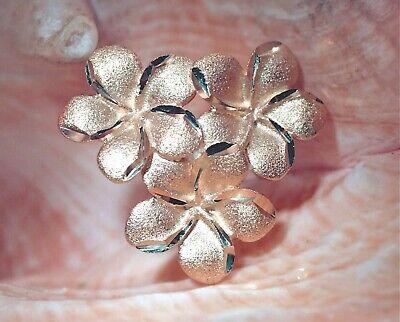 Reverse Graduated Hawaiian Solid 14k Rose Gold DC Plumeria Flower Medium Pendant