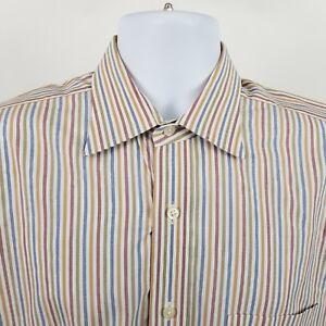 Robert-Talbott-Mens-Blue-Red-Striped-L-S-Dress-Button-Shirt-Sz-XL