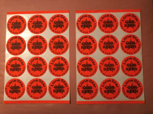 Lone Star Beer Born in San Antonio Texas Our Beer 24 Vintage Stickers Decals 70s