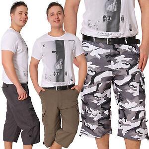 Herren Bermuda Zierbänder kurze Hose Shorts Cargo Capri Army Sport Sommer Neu