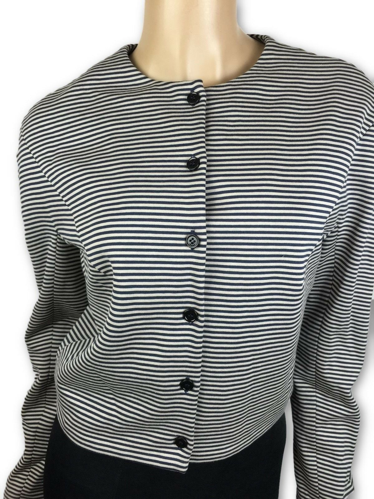 Carven New Top Jacket schwarz & braun Stripes US 10 Long Sleeves MSRP
