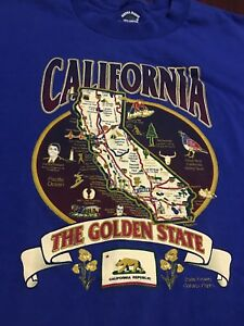 Vintage-90-s-California-The-Golden-State-City-Map-Facts-Mens-T-Shirt-Large-L-USA