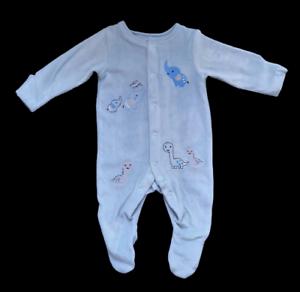 Baby Boys Elephant Dinosaur Blue Velour Sleepsuit Babygrow 0-12 Months NEW