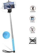 Selfie Photo Stick, Plug-and-play Built-in shutter Button Wired - color: PINK