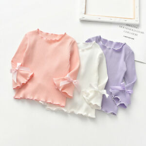 Cute-Autumn-Kids-Baby-Girl-Blouse-Long-Flare-Sleeve-T-Shirts-Bowknot-Tops-Shirts