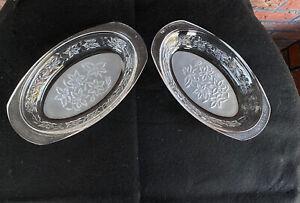 "2 Vintage Etched Clear Glass Oblong Bowls Handles Frosted Bottom 9-1/4"" Long VTG"