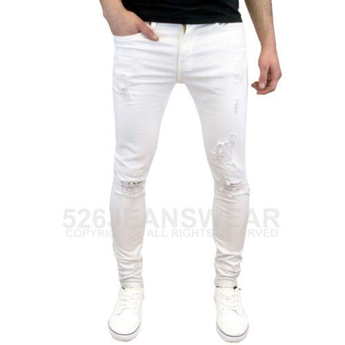 Enzo pour Hommes de Marque Déchiré Super Stretch Skinny Jeans Vieilli,