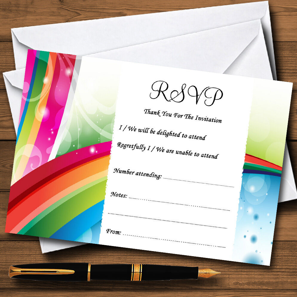 Rainbow Personalised Wedding Party Or Party Wedding RSVP Cards
