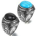 Men's Vintage Stainless Steel Oval Manmade Turquoise Antique Classical Ring Band