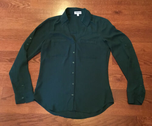 Express The Portofino Shirt Blouse Forest Green Wo