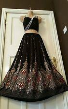 Ladies Indian Boho Hippie Gypsy Long Sequin Skirt Rayon in Black & Orange  inset