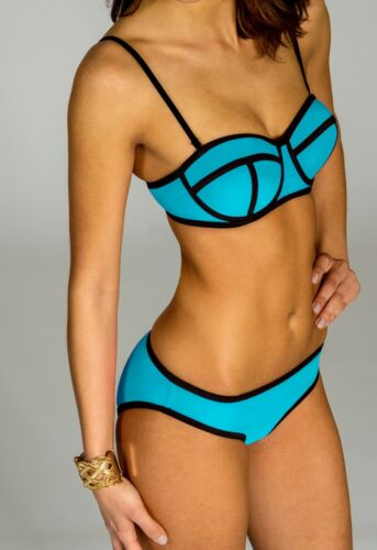 CASPAR Damen Bandage Bikini Set mit Push Up Unicolor Neckholder BIK003