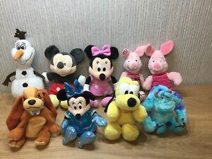 Disney Plush Bundle X9 Joblot Soft Toy Mickey Minney Olaf Piglet Lady Pluto