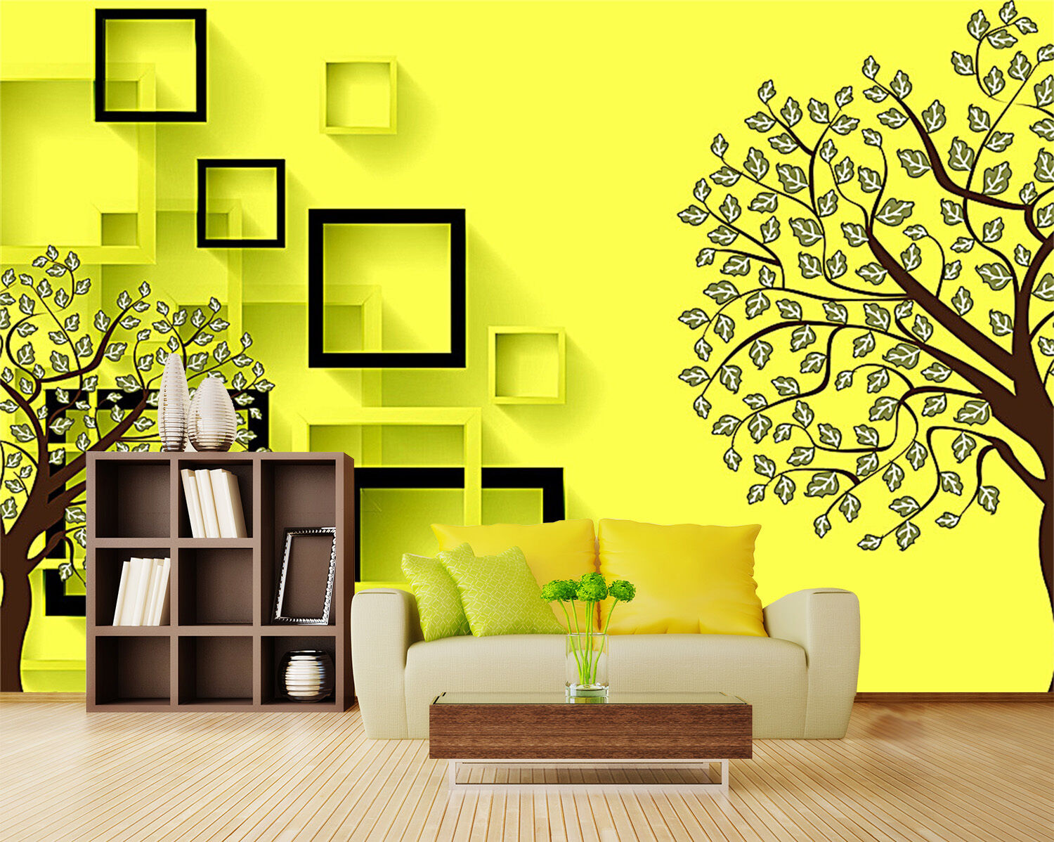3D Small tree, square 587 Wall Paper Print Wall Decal Deco Indoor Wall Murals