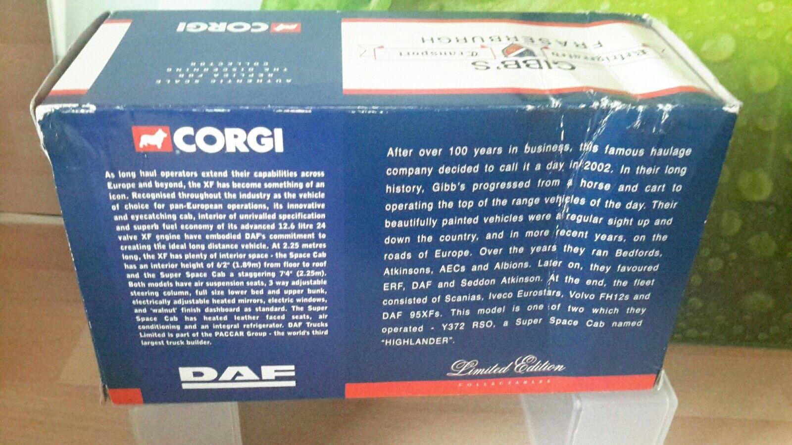 CORGI moderno CC13210 DAF 95XF-GIBBS di fraserburgh Ltd Ltd Ltd Edition be4989