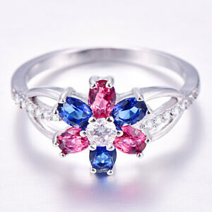 Exquisite-Fleur-Argent-925-Bijoux-saphir-rose-bleu-Topaz-Gems-silver-ring