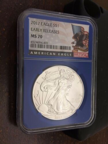 2017 American Silver Eagle NGC MS70 Blue Core Early Releases Eagle Label