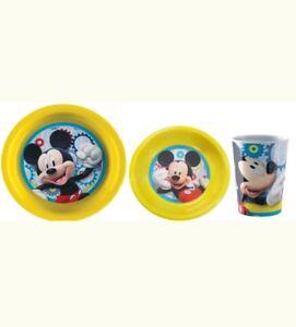 Mickey-Mouse-melamine-repas-ensemble-3-pieces-bol-assiette-amp-CUP