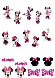 Minnie-Maus-Mouse-Essbar-Tortenbild-Muffinaufleger-Tortenaufleger-Party-Deko-neu