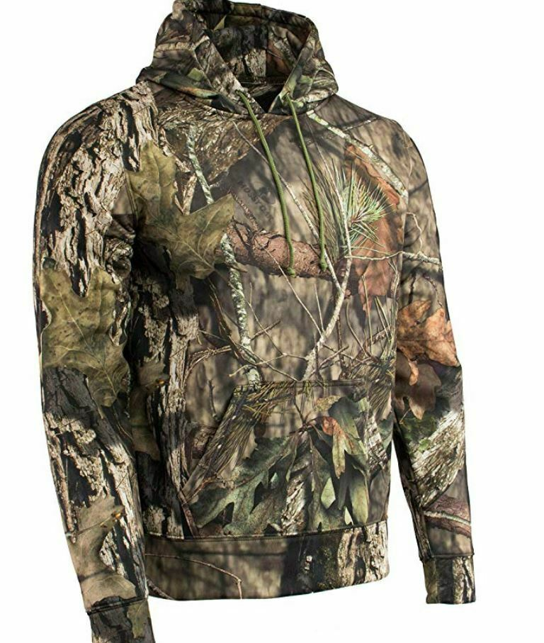 Camouflage Hoodie Pull Over Sweater Sweatshirt Long Sleeve Shirt Camo Hunting L
