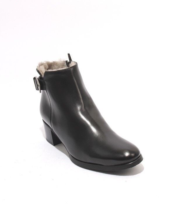 Luca Grossi 188B Black Leather Shearling Ankle Buckle Heel Boots 36   US 6