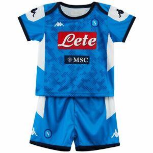 Dettagli su Completino SSC NAPOLI KAPPA neonato maglia e pantaloncini calcio 6/12/24 mesi